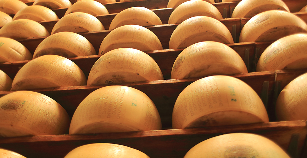 Seasoning of Parmigiano Reggiano